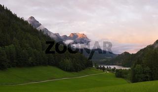 Alpine landscape in the evening