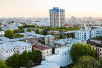 residential houses in Kiev city in spring evening