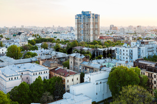 residential houses in Kiev city in spring evening