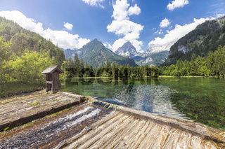 At the Schiederweiher in Hinterstoder with a view at the mountain peaks Spitzmauer and Grosser Priel