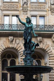 figure of Hygieia fountain near Hamburg City Hall