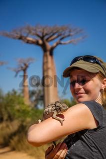 Girl and chameleon