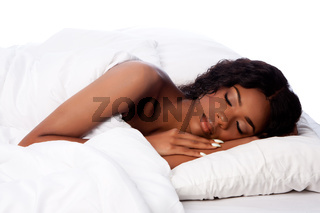 Beautiful woman deeply asleep and dreaming
