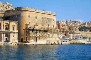 The view of Fort Lascaris from the water of Grand Harbour. Malta