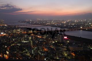 Osaka City in Japan at night