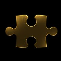 Jigsaw Puzzle Gold 3D rendering Illustration