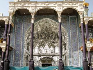 Entrance to Fatima Masumeh mosque in Qum, Iran