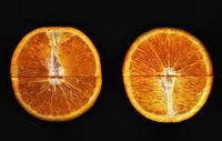 Two halves of an orange