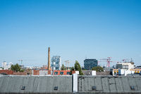rooftop view over Berlin city, roof skyline with blue sky