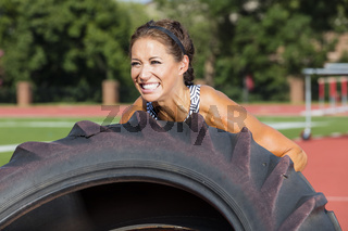 Brunette Fitness Model Working Out