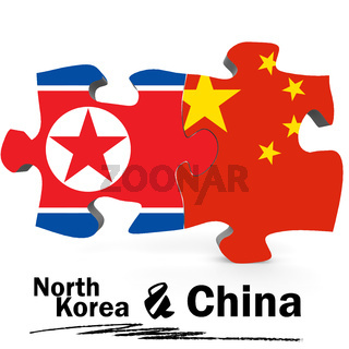 China and North Korea flags in puzzle