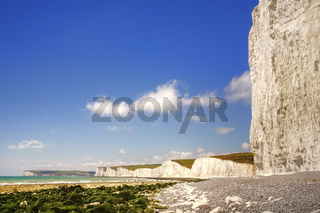 Chalk cliffs at Beachy Head and the Seven Sisters.