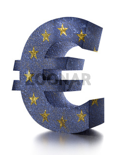 3D rendering of Euro currency symbol wrapped around with EU flag over white background
