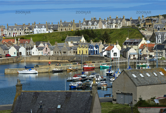 Findochty Harbour with town behind at the Moray Firth, Scotland, Great Britain