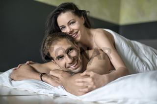 Sexy hugging couple