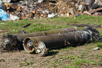 unexploded ordnance from multiple rocket launchers