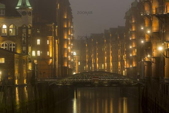 Historic Speicherstadt warehouse district at night, Hafencity, Hamburg, Germany, Europe