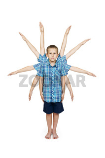 ten arm-boy isolated on white