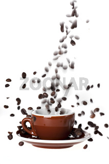 coffee bean splash isolated on white