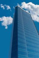Multi-storey business center on blue sky background