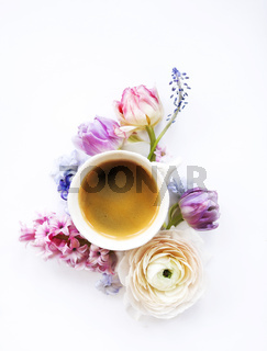Festive invitation card with beautiful flowers and cup of coffee