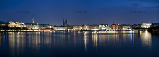 Hamburg, Germany, Alster with Town Hall