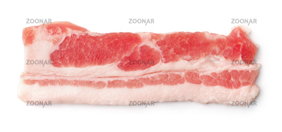 Top view of single silce fresh bacon