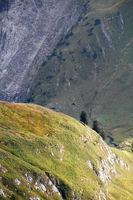 sunlight on hills in Alps