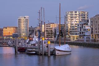 HafenCity mit Museumshafen, Sandtorkai, Traditionsschiffhafen, Hamburg, Norddeutschland, Europa