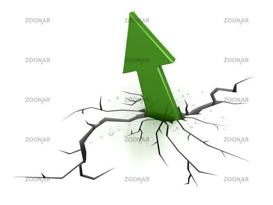 Green arrow breaking through the earth