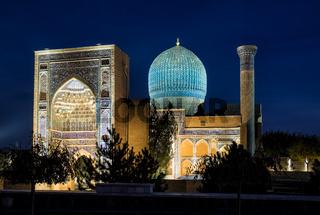 Guri Amir in Samarkand at night