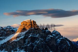 Sassongher Peak on the Ski Resort of Corvara, Alta Badia, Dolomites Alps, Italy