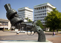 sculpture Non Violence in front of the town hall, Marl, Ruhr Area, Germany, Europe