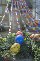 Decorated Water well with easter eggs in Langenburg, Germany