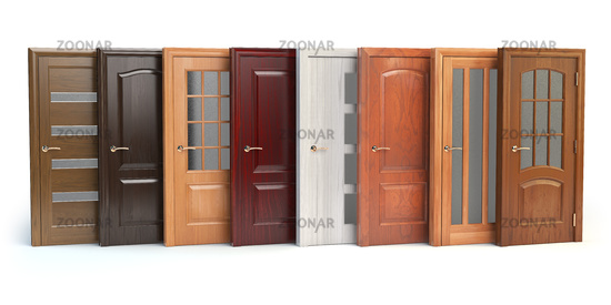Wooden doors isolated on white. Interior design or marketing concept.