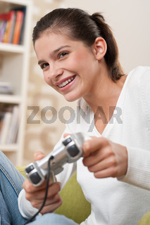 Students - Female teenager playing video game