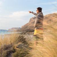 Free active man enjoying beauty of nature.
