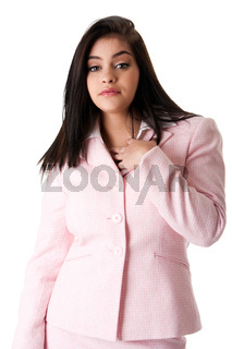 Business woman in pink suit