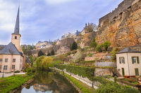 Medieval ruins on a river valley in Luxembourg