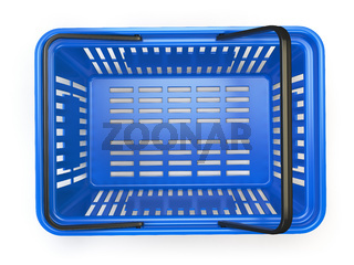 Blue  empty  shopping basket isolated on white background