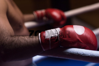 kick boxer with a focus on the gloves