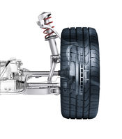 Multi link front car suspension, with brake. Photorealistic 3 D rendering.