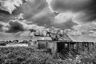 Black and White Photograph of Old Farm