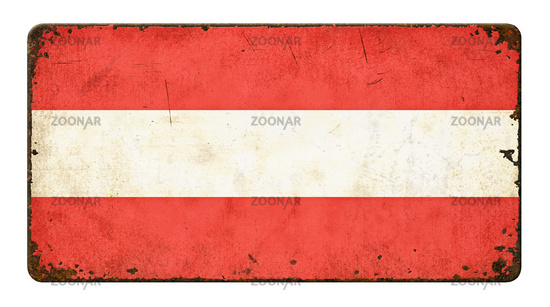 Vintage metal sign on a white background - Flag of Austria