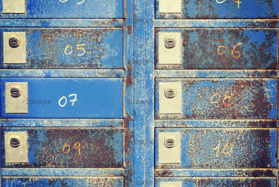 old weathered mail boxes
