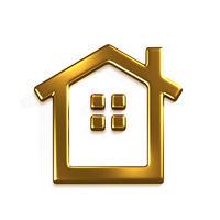 Gold House Logo. 3D Render Graphic Illustration