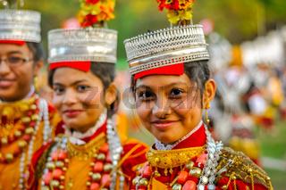 Smiling girls in Shillong in Meghalaya