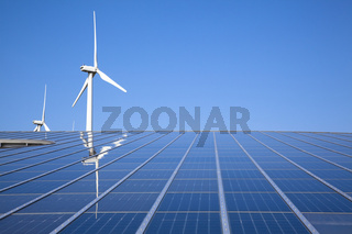 Solar and wind energy with clear sky