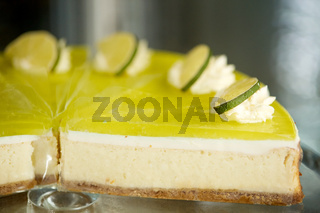 pieces of lime cake on stand