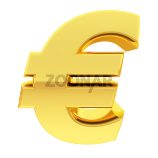 Gold euro sign with gradient reflections isolated on white. High resolution 3D image